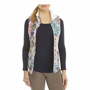 ZELOS Print Down Vest with Ribbed Knit NWT Medium